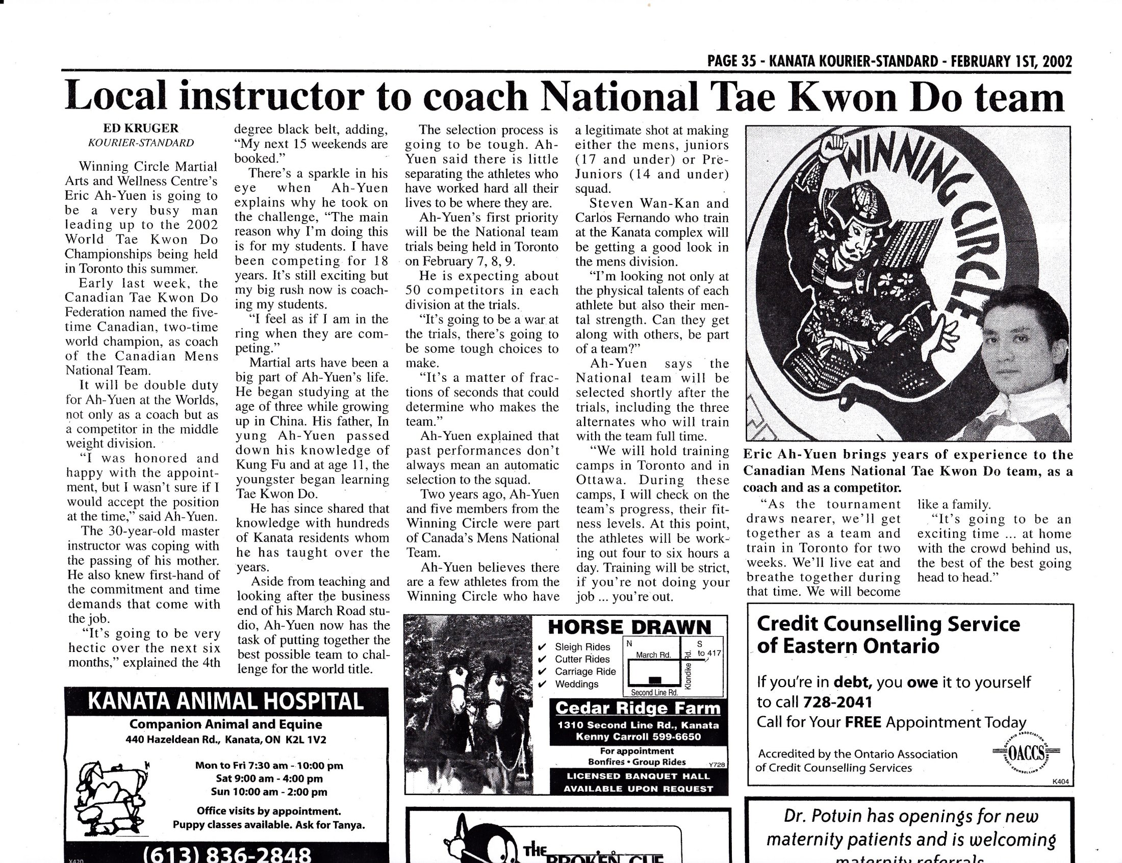 Kourier-Standard 2002 \'\'Local Instructor to coach National Tae Kwon Do Team\'\'